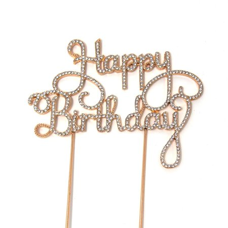 Metal Rhinestone Celebration Cake Toppers, Gold, Happy Birthday