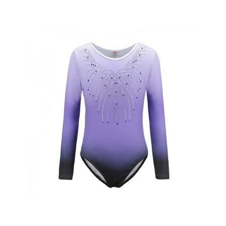 Lavaport Gymnastics Leotards Long Sleeve Sparkle Dancing Activewear for Little Girls (Leotard Gymnastic For Girls)