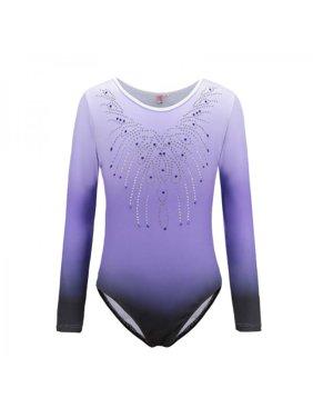 Lavaport Gymnastics Leotards Long Sleeve Sparkle Dancing Activewear for Little Girls