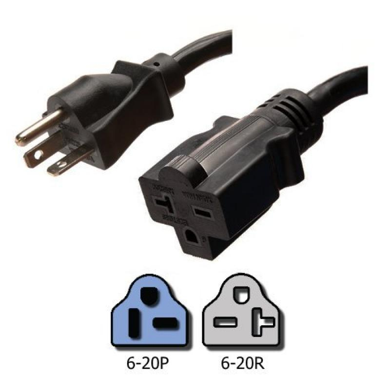 NEMA 6-20 Extension Power Cord - 6 Foot, 20A/250V, 12/3 S...
