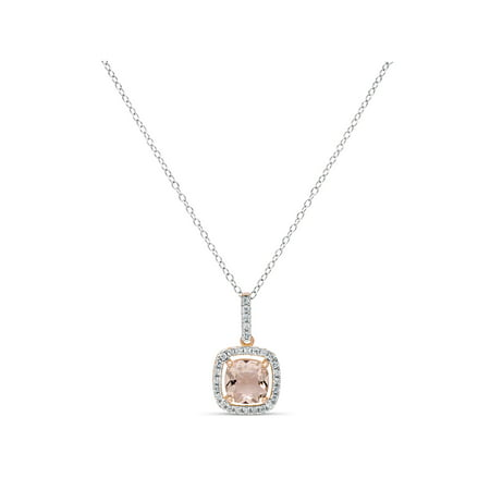 8mm Cushion-Cut Simulated Morganite with White CZ 18kt Rose Gold over Sterling Silver Square Halo Pendant, 18