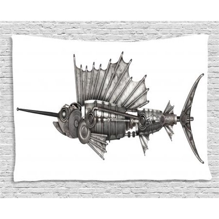 Steampunk Tapestry, Mechanical Animal Photo of Steampunk Style Sailfish Designed with Wheels, Wall Hanging for Bedroom Living Room Dorm Decor, 60W X 40L Inches, Grey and White, by Ambesonne
