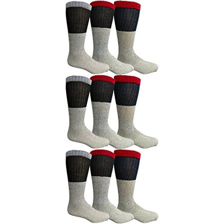 9 Pairs of Thermal Tube Socks, Warm Terry Cushioning Boot Sock, Mens or Womens by WSD (10-13, Assorted - Tube Sock Costume