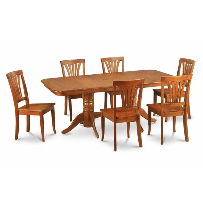 East West Furniture NAAV7-SBR-W 7pc Napoleon Double Pedestal Table and 6 Avon Wood Seat Chairs