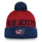 Columbus Blue Jackets Fanatics Branded Fan Weave Cuffed Knit Hat with Pom - Navy/Red - OSFA