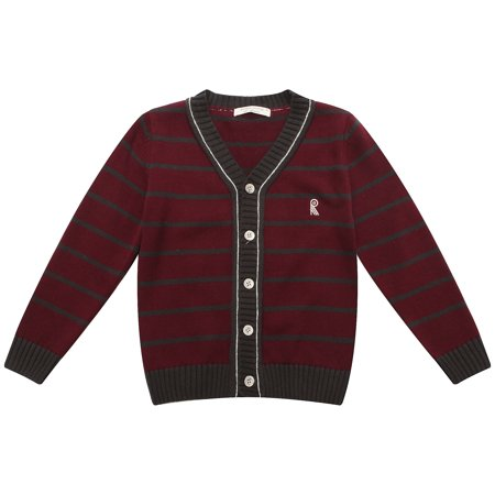 Richie House Boys' Striped Cardigan Sweater with R Embroidery RH1695
