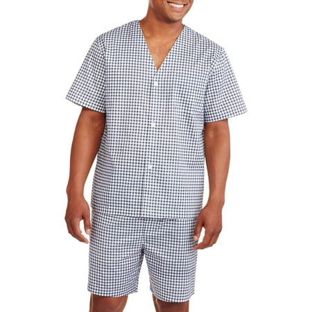 Fruit of the Loom Men's Short Sleeve, Knee-Length Pant Print Pajama (Embroidered Print Pajama Set)