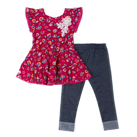 Short Sleeve Yummy Knit Floral Tunic & Knit Denim Jeans, 2-Piece Outfit Set (Baby Girls & Toddler Girls)