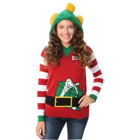 ugly christmas sweater womens elf 01 hooded sweater - Ugly Christmas Sweaters At Walmart