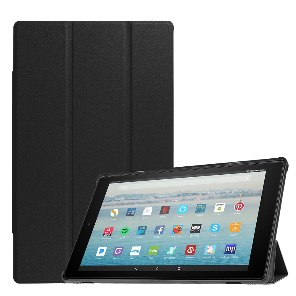 Fintie Slim Case for All-New Amazon Fire HD 10 7th Generation, 2017 Release - Ultra Lightweight Stand Cover, Black