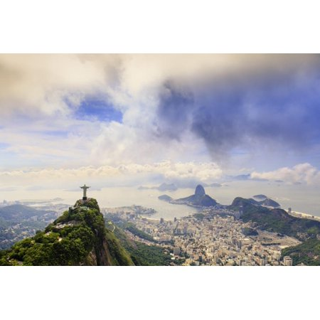View of the Christ Statue, Sugar Loaf and Guanabara Bay. Rio De Janeiro, Brazil, South America Print Wall Art By Alex (Sugar Loaf Mall)
