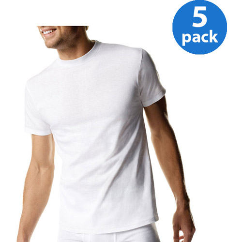 Hanes Big Mens ComfortSoft White Crew Neck T-Shirt 5-Pack