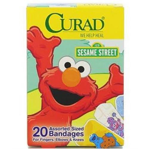 Curad Sesame Street Bandages Assorted Sizes 20 Each (Pack of 6)