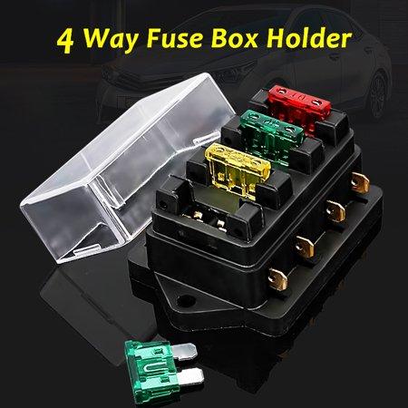 4 Way Fuse Blade Holder Box Block Car Vehicle Automotive Matcc 12V 24V Circuit 6 3Mm Standard Blade Terminal   4Pc Fuse 10A 20A 30A Us New
