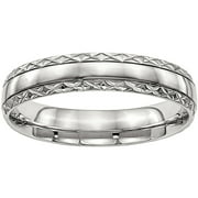 Primal Steel Stainless Steel Polished Grooved Criss Cross Design Ring