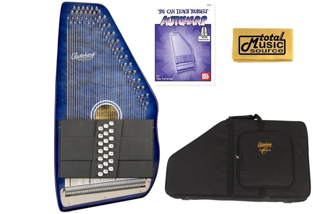 Oscar Schmidt 21 Chord Autoharp, Quilted Maple Top, Trans Blue, OS21CQTBL w Soft Case,... by Oscar Schmidt