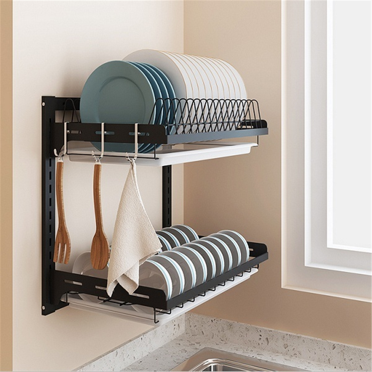 2 Layer Stainless Steel Wall Mounted Kitchen Shelf Rack Adjustable Plate Dish Storage Organizer Holders In Black Walmart Com Walmart Com