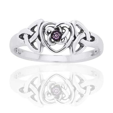 February Birthstone Ring - Sterling Silver Simulated Amethyst Celtic Trinity Knot Heart (Amethyst Knot)
