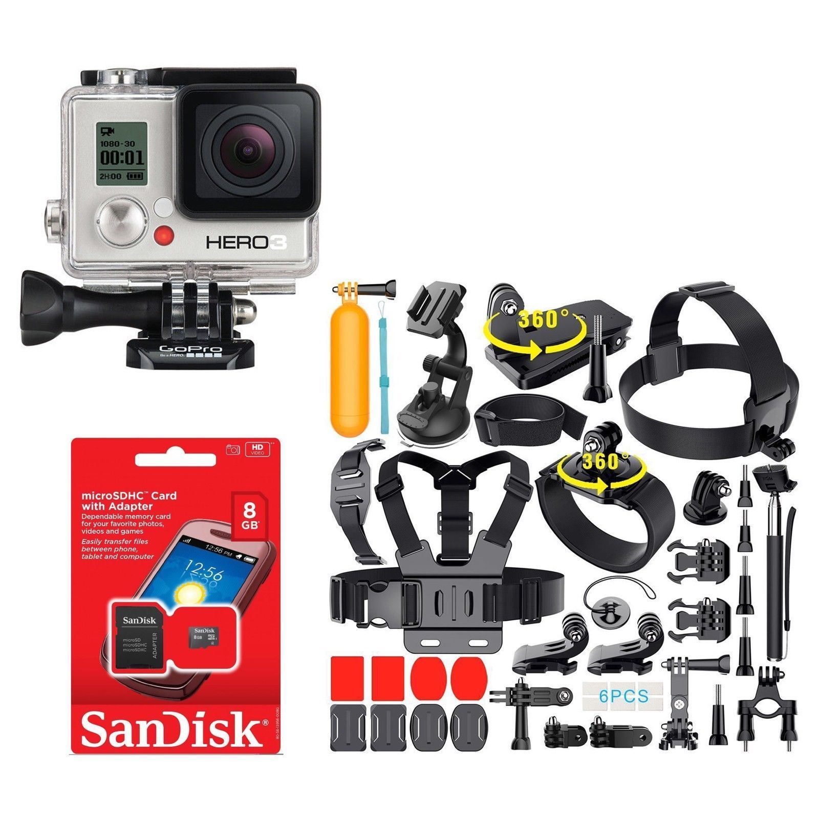 Refurbished GoPro HERO3 WHITE Edition Action Camera CHDHE-301 With lots of 35+ Accessories!