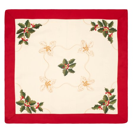 Holiday Holly Berries Embroidered Square 36 X 36 In  Table Topper With Red Trim Border