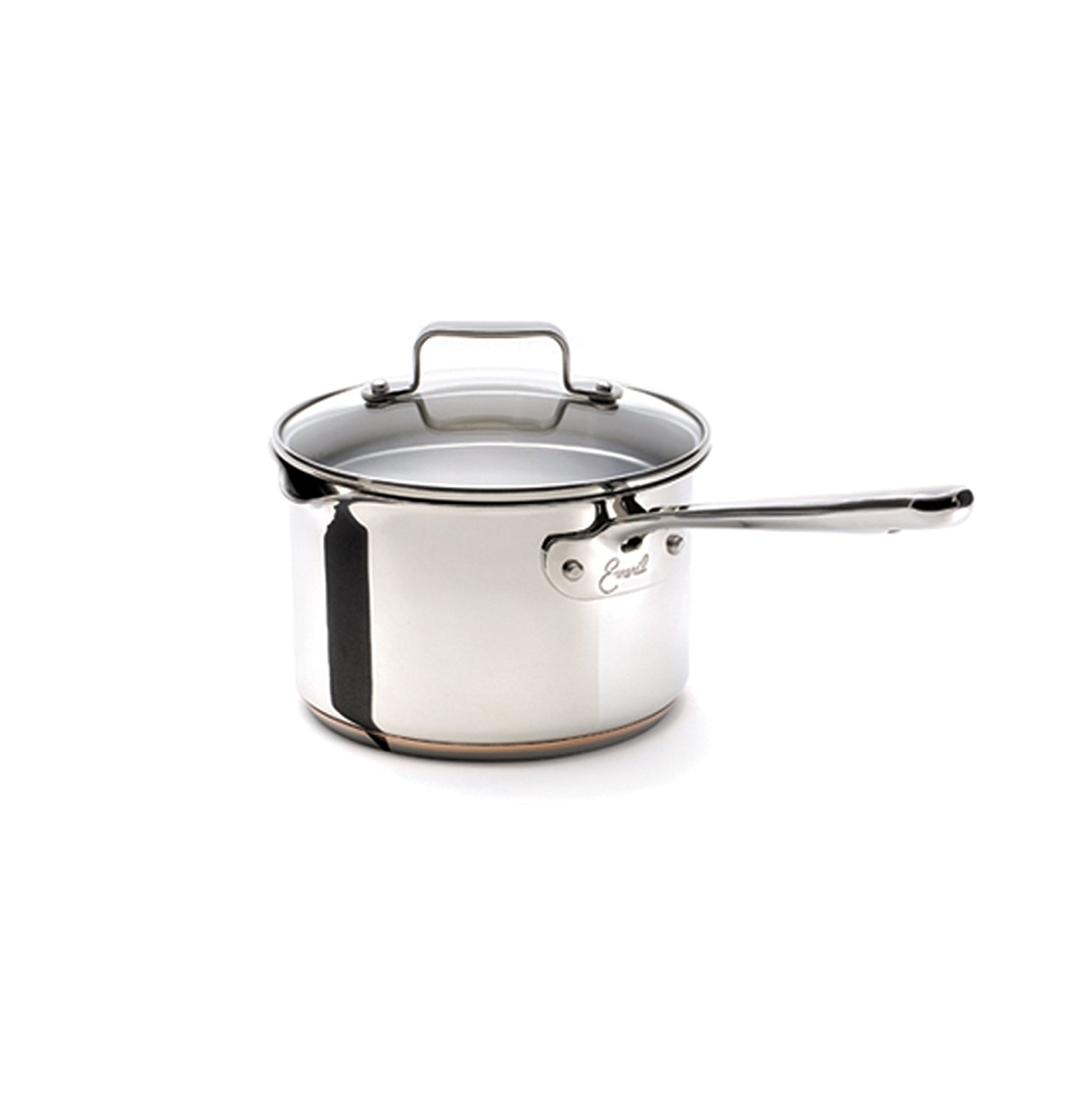 Emerilware Stainless Steel with Copper Dishwasher Safe Sauce Pan with Pour Spouts and Lid Cookware, 3-Quart, Silver