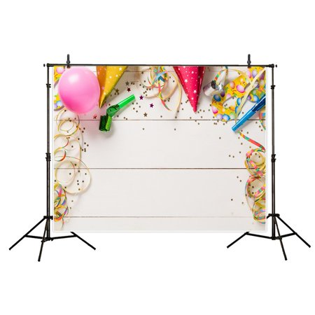 HelloDecor Polyster 7x5ft Birthday Celebration Backdrop White Wooden Wall Ribbons Balloon Photography Background for Photo Studio Shooting