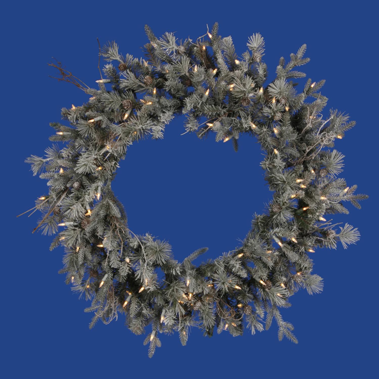 "Vickerman 36"" Prelit Frosted Wistler Fir Artificial Christmas Wreath - Clear Dura Lights"