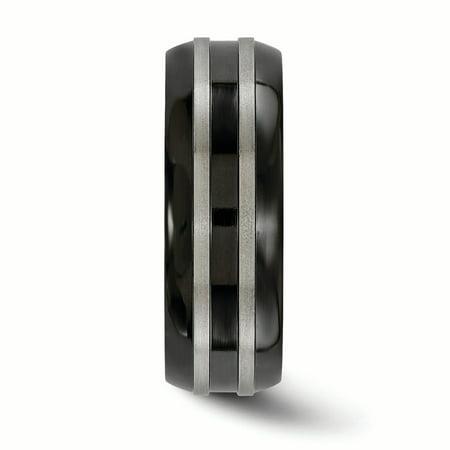 Edward Mirell Titanium Brushed/Polished/Grooved Black Ti 8mm Ring Size 10 - image 2 de 3