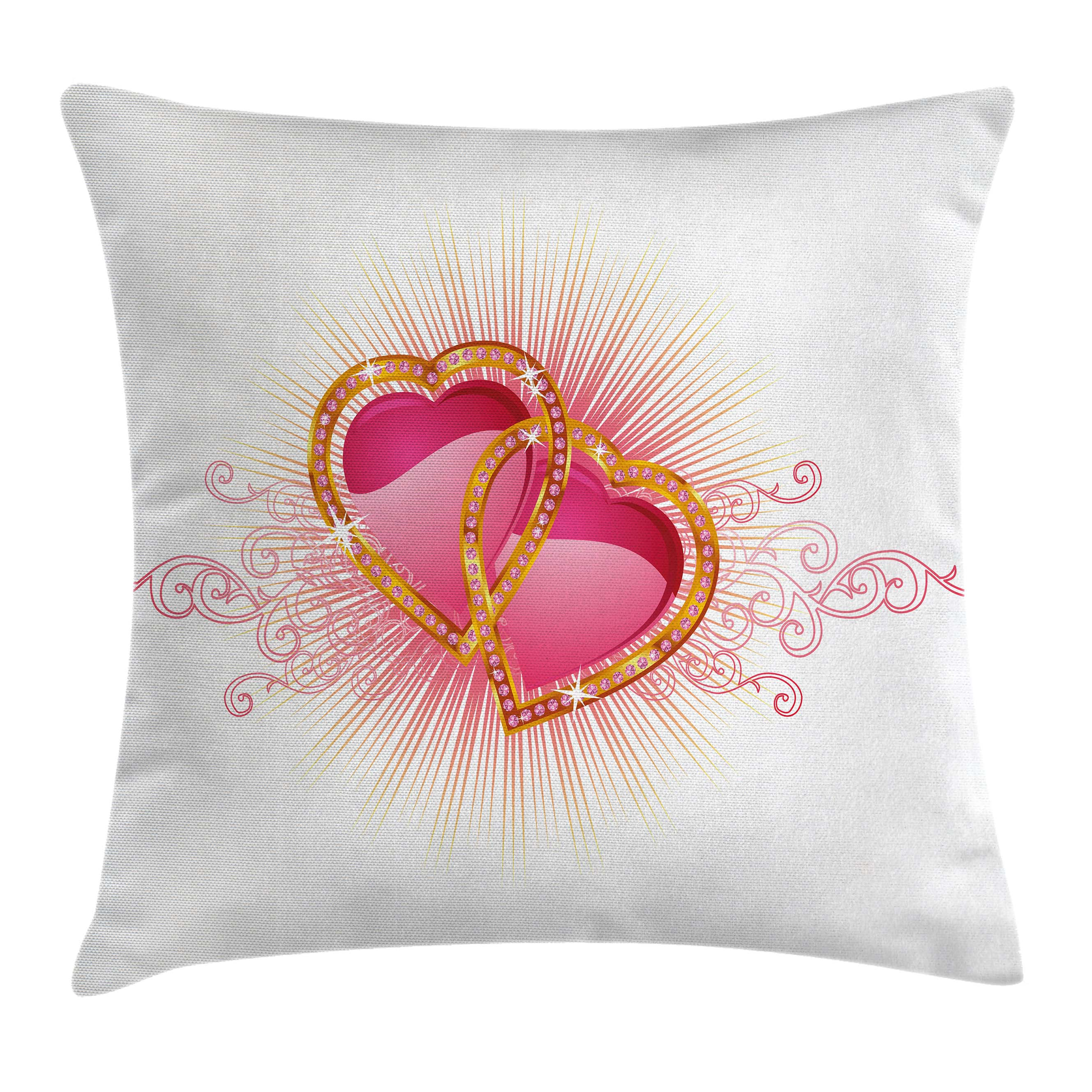 Engagement Party Decorations Throw Pillow Cushion Cover, Romantic Hearts for Engagement Party Swirls Image, Decorative Square Accent Pillow Case, 16 X 16 Inches, Light Pink and Marigold, by Ambesonne