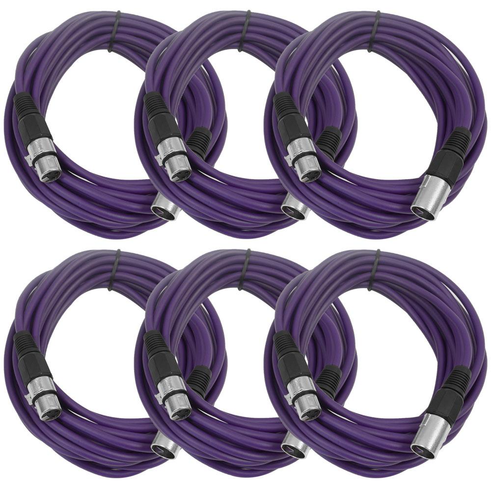 Seismic Audio  (6 PACK) Purple 25' XLR Microphone Cables Purple - SAXLX-25Purple6