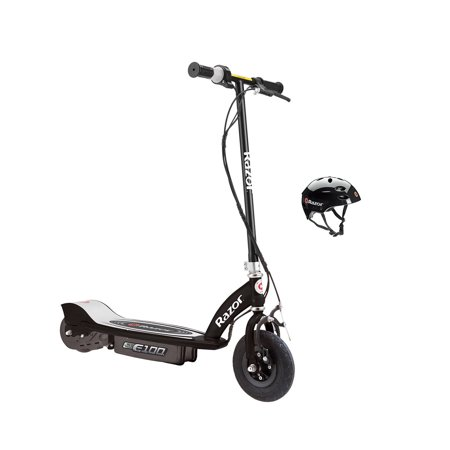 Razor E100 Motorized 24-Volt Electric Scooter, Black + Razor V17 Youth Helmet