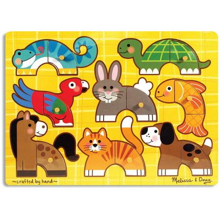 Melissa & Doug Pets Mix 'n Match Wooden Peg Puzzle (8