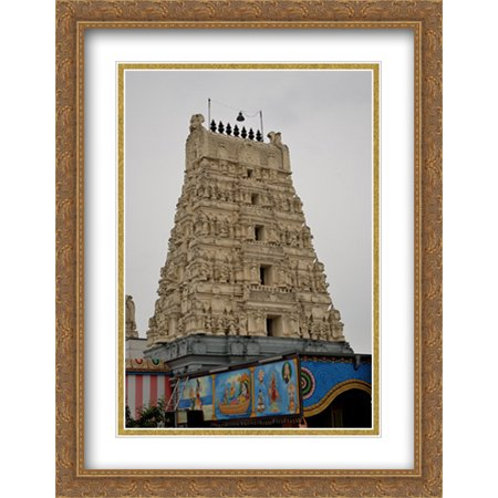 Acetate Temples Frame - Hindu Temple in Germany 2x Matted 28x36 Large Gold Ornate Framed Art Print by The Cityscape Art Print Series