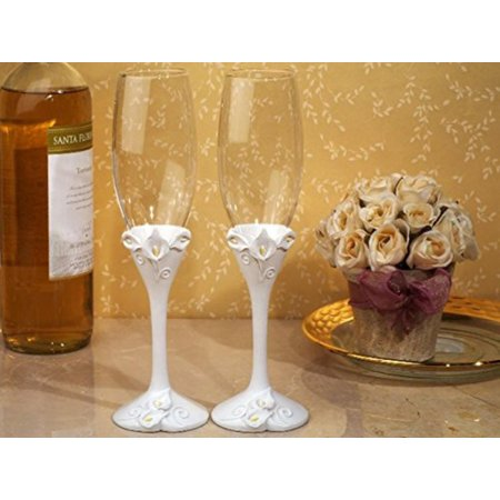 Classic Calla Lily Toasting Flutes Wedding Set, Each itemWalmartes packaged in lovely display gift box By FavorOnline