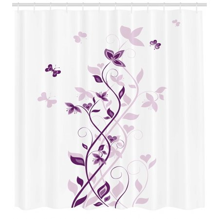 Purple Shower Curtain Violet Tree Swirling Persian Lilac Blooms With Butterfly Ornamental Plant Graphic Fabric Bathroom Set Hooks White