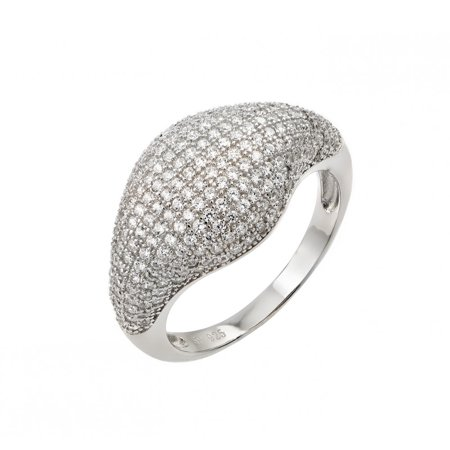 Sterling Silver Pave Dome - Mirco Pave Clear Cubic Zirconia Fashion Dome Ring Rhodium Plated Sterling Silver Size 5