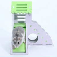 Pet Small Animal Hideout Hamster Hedgehog Guinea Pig House Two Layers Wooden Villa Exercise Play Toys with Ladder