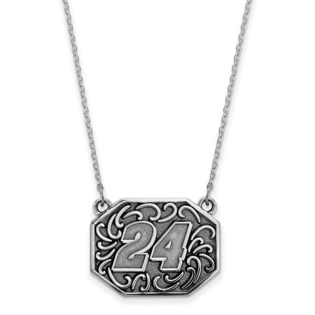 - Roy Rose Jewelry Sterling Silver LogoArt Bali-style # 24 NASCAR 18'' Chain Pendant Necklace