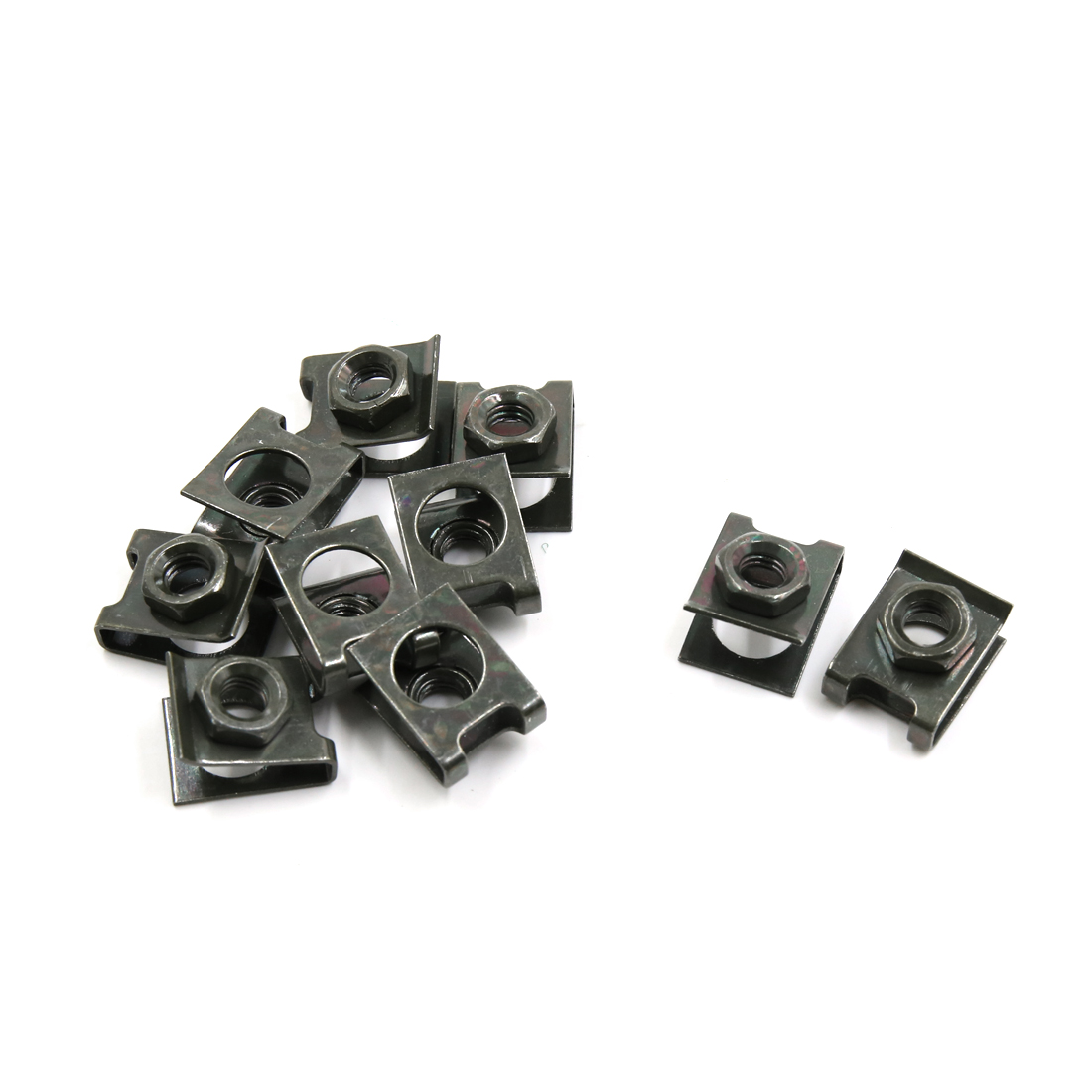 10pcs 5mm Dia Bronze Tone Metal U-Type License Plate Screw Base Clip Speed Nuts