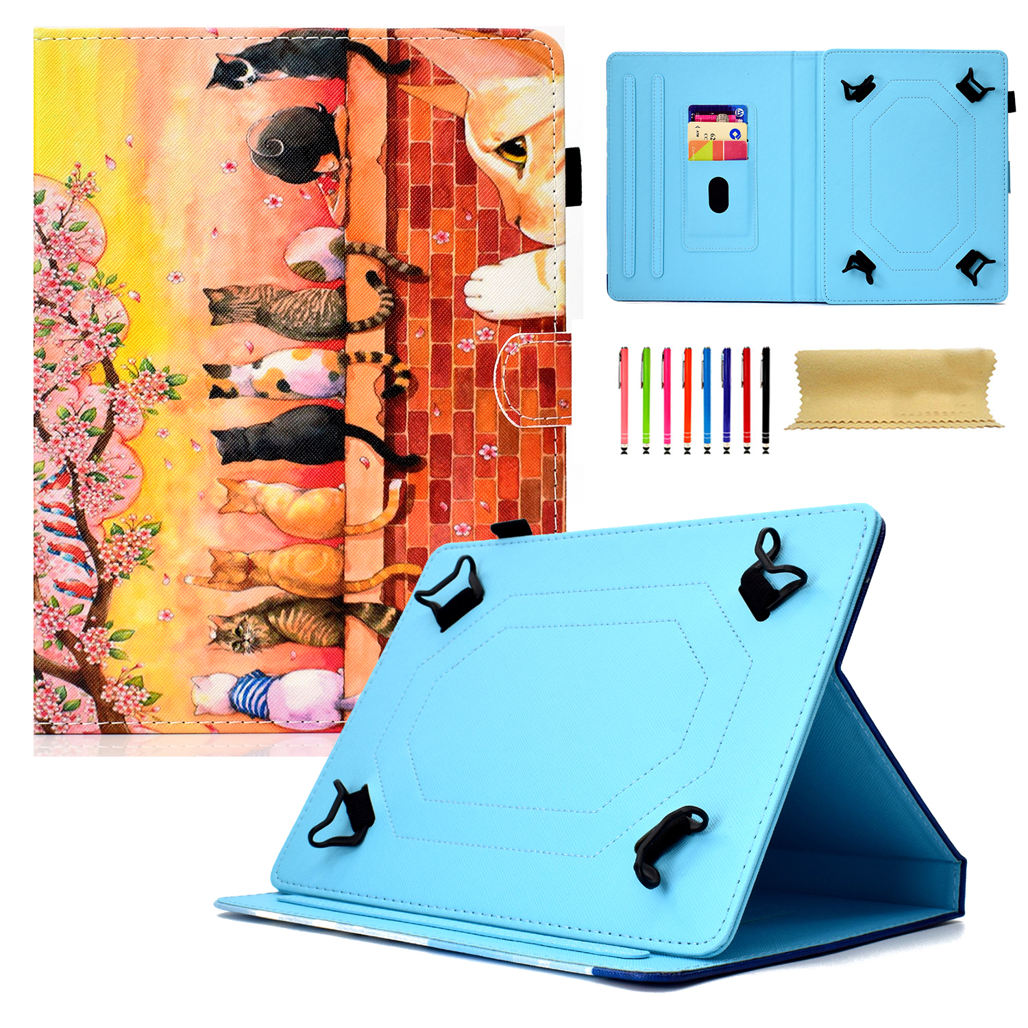 """Goodest Universal 8 Inch Tablet Case, Slim Fit Folio Protective Stand Wallet Cover for 7.5-8.5"""" Tablet 8"""" Touchscreen/iPad Mini/Galaxy Tab A/Fire HD 8/RCA/Chrome Nextbook iView, Colorful Cats"""
