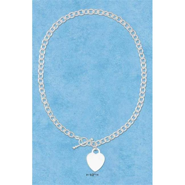 Sterling Silver 17 Inch Engravable Heart Necklace with Toggle On Heavy Link Chain