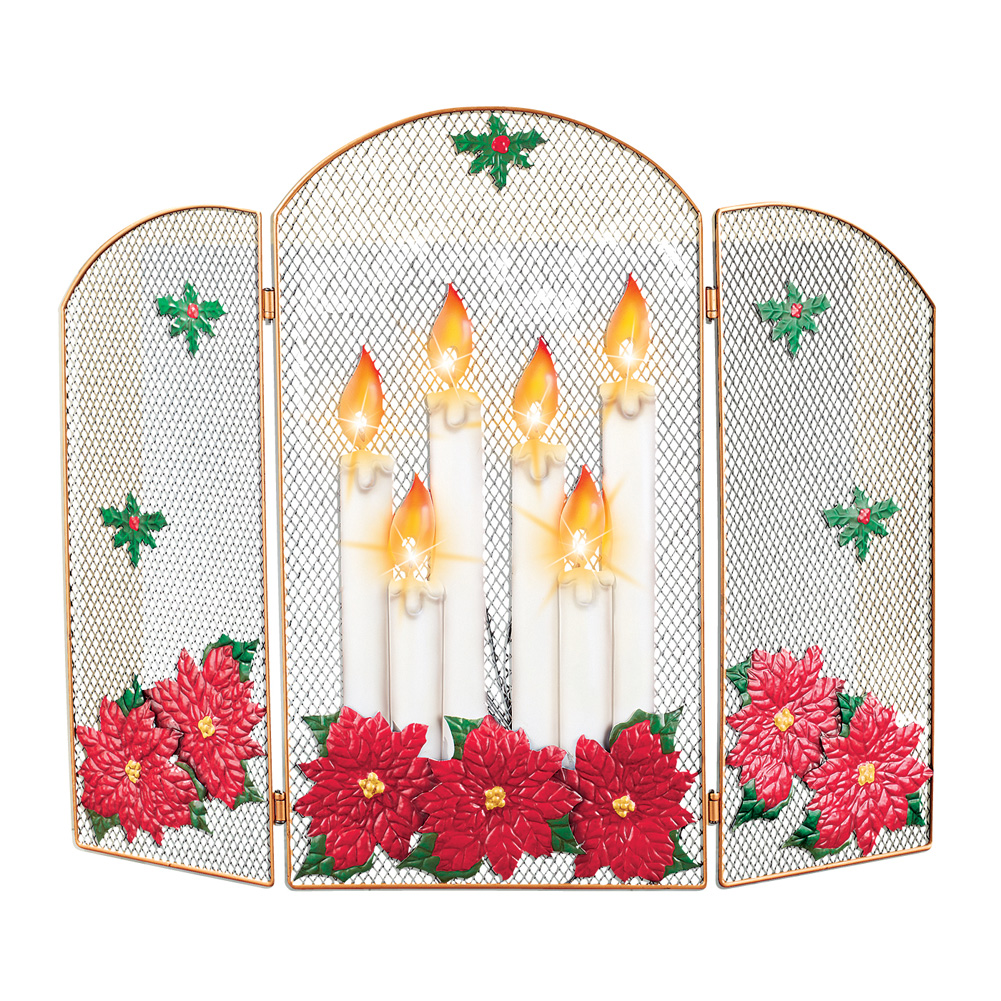 Lighted Candle Decorative Christmas Fireplace Screen by Collections Etc