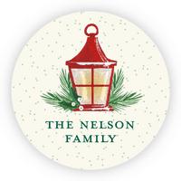 """Personalized Holiday circular 1.75"""" Circular Seal Stickers - Holiday Lantern"""