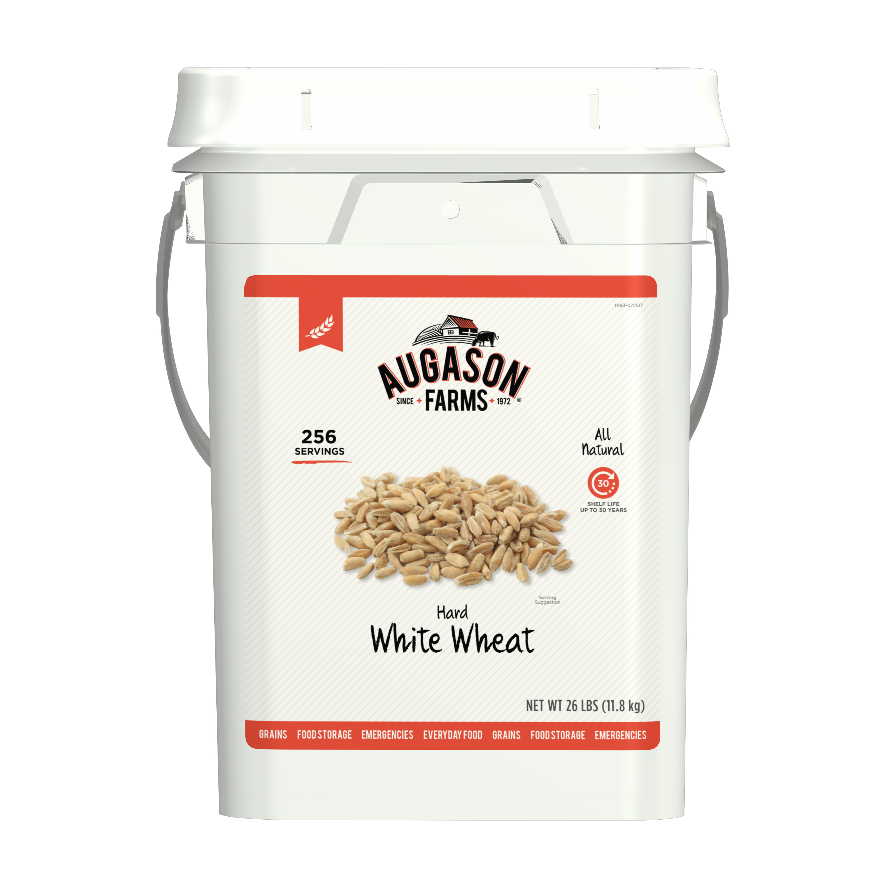 Augason Farms Hard White Wheat Emergency Food Storage 26 Pound Pail
