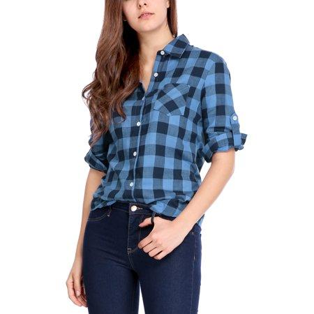 West Plaid Pocket Shirt (Women's Roll Up Sleeves Buttoned Pocket Plaids Shirt Blouse Tops Blue XL (US)