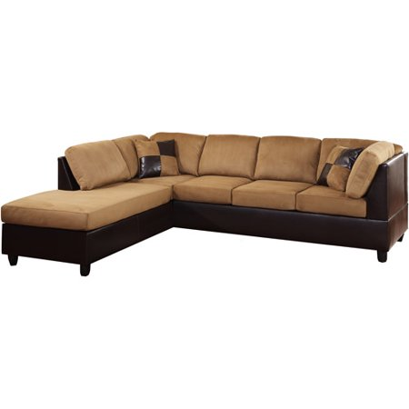 Enjoyable Rhino Microfiber And Faux Leather Sectional Sofa Brown Box Ocoug Best Dining Table And Chair Ideas Images Ocougorg