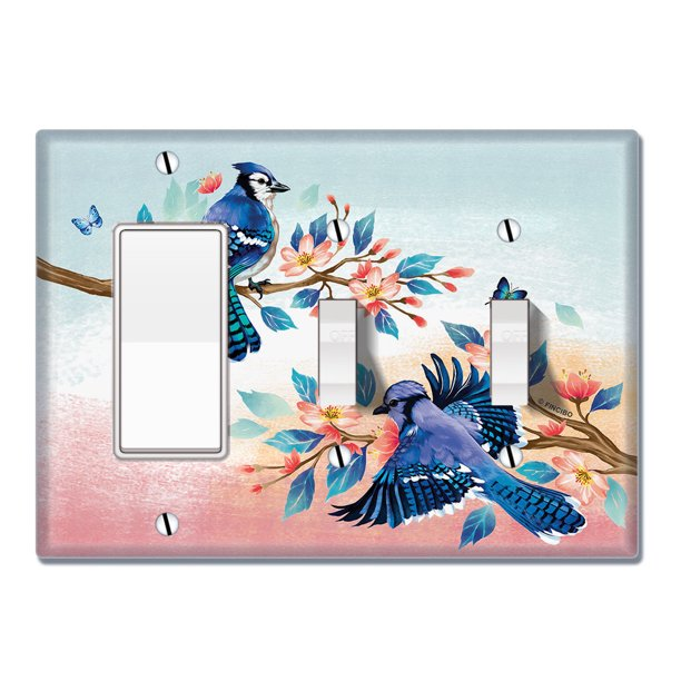 Wirester Triple 1 Gang Decorator Light Switch And 2 Gang Toggle Wall Plate Switch Plate Cover Blue Jay Birds Walmart Com Walmart Com
