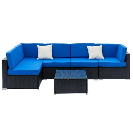 Ktaxon 6pcs Outdoor Patio Garden Furniture Sectional Pe Wicker Rattan Sofa Set ()