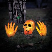2 orange skull with hand halloween prop halloween decoration - Halloween Decorations Images