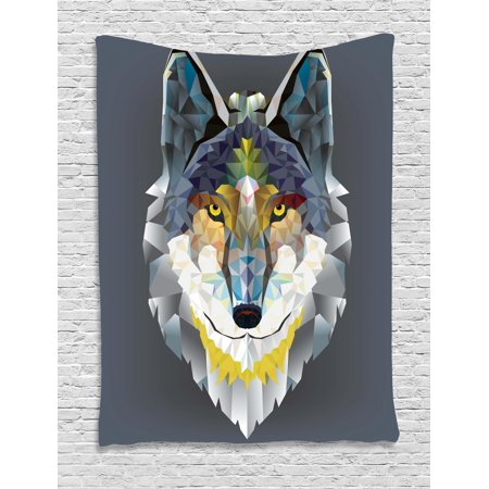 Zoo Tapestry, Artsy Graphic Design of Coyote Wolf Beast Modern Portrait Geometric Colorful Print, Wall Hanging for Bedroom Living Room Dorm Decor, Multicolor, by Ambesonne](Geometric Portrait)